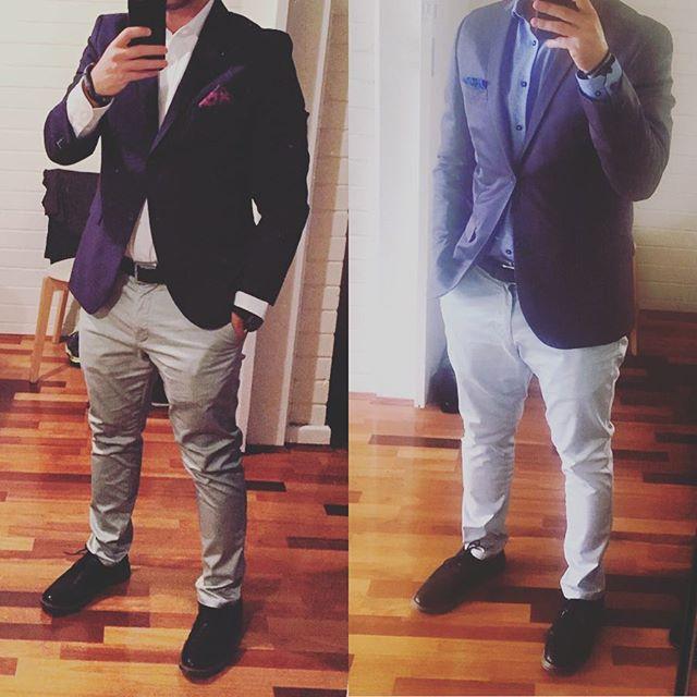 Left or Right?  #mensclothing #blazerdress #lookingood #mensstyle #blazer #changeofstyle #smartcasual #shirt #dressup #dressoftheday #dresscode #suitup