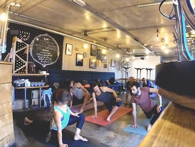 What a perfect way to start the day!! Yoga for cyclists with @trikayoga . 🚲🚲🚲 British summer weather meant we couldn't do it on the jetty as planned, so tomorrow morning we'll be inside @spokeandstringer again. Come along and start your day right!! ☀️☀️☀️ #rideculturepedal #bristol #bristolcycling #bristolevents #visitbristol #bristol247 #foreverpedalling #dasradklub #goodvibesandbikerides #cycling #southwestisbest #cyclinglifestyle #igersbristol #sustrans #betterbybike #fromwhereiride