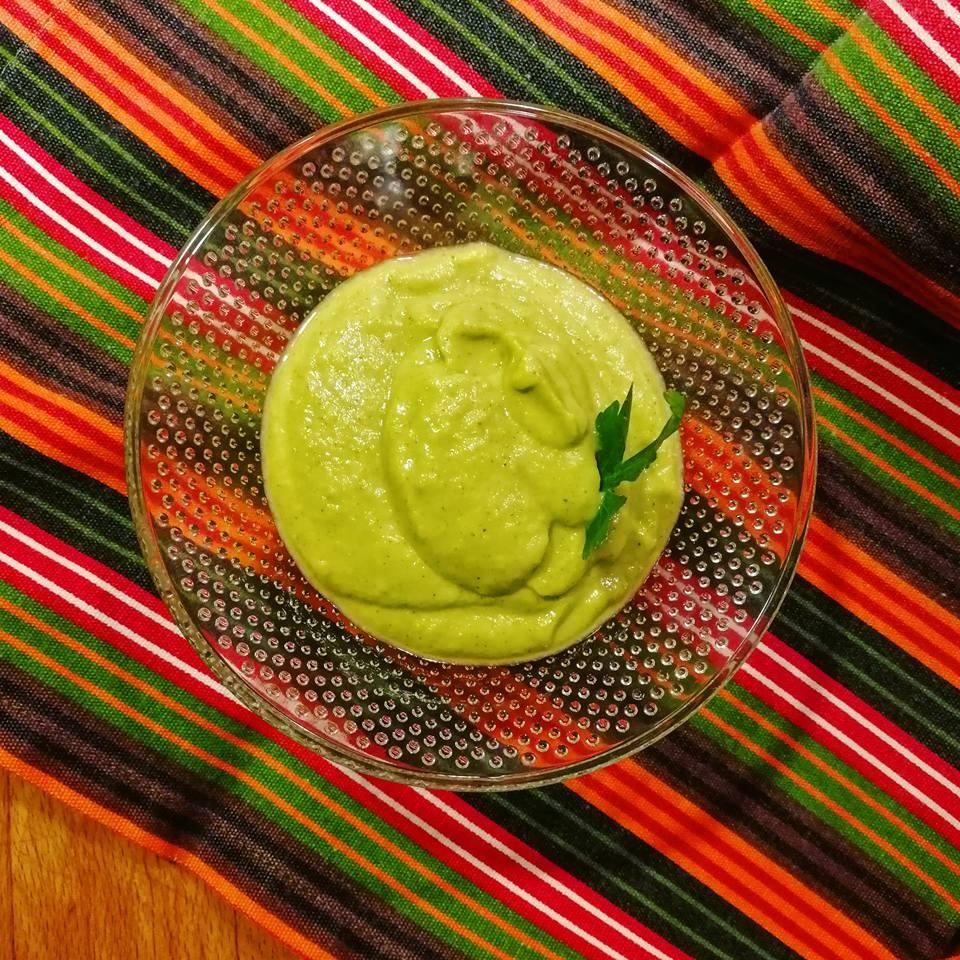 Crema de brócoli y guisantes
