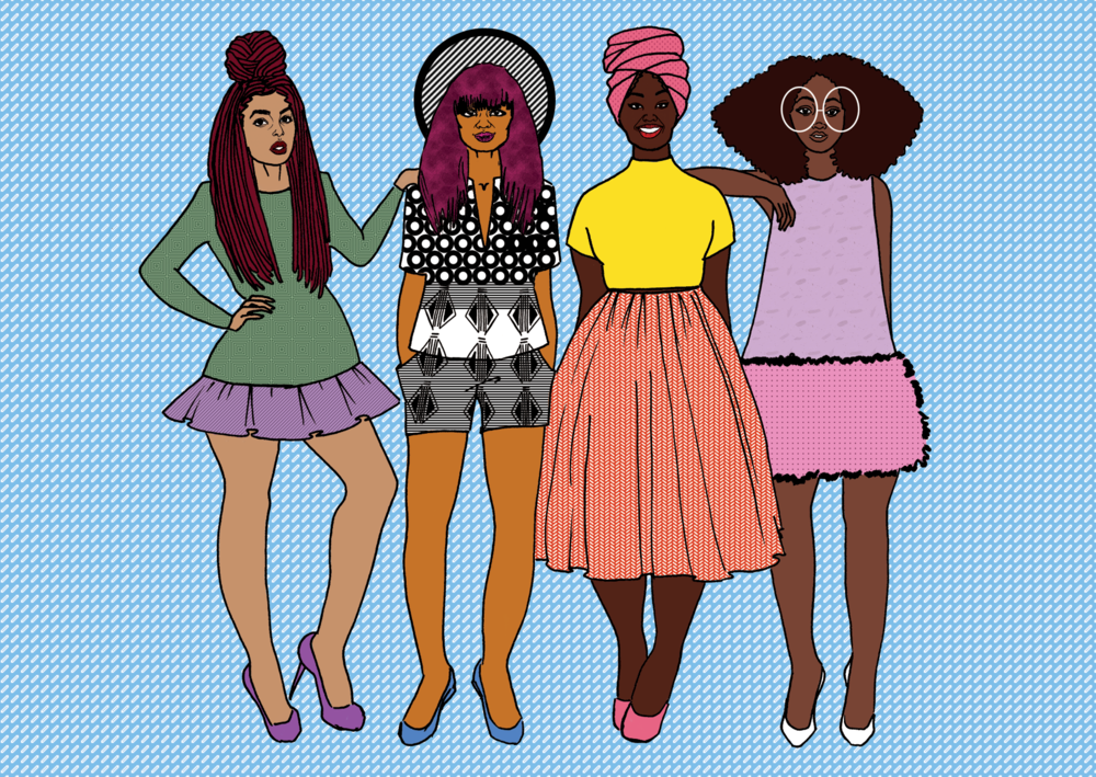 Created a fashion illustration for the hoisery/lingerie brand   OWN BROWN  ;depicting a group of fun and fashionable black women across a range of body types and skin tones to fully represent the Own Brown woman