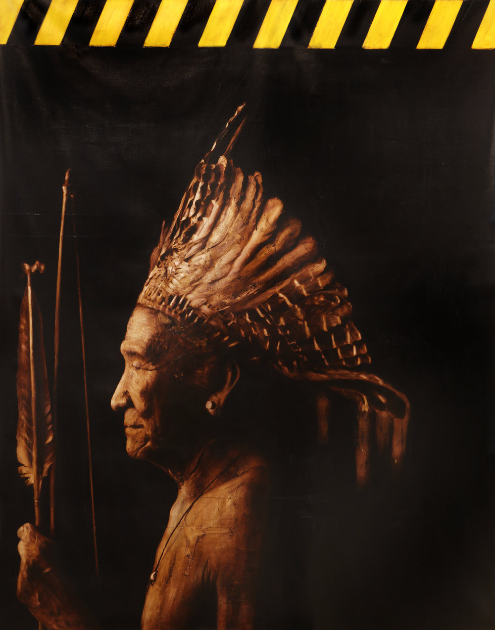 Xingu Chief  Mixed Media / Oil on Canvas 203 x 170 cm / 78 x 66 in Ver I.: Collection of Verdens Gang / Norway Ver II.: Private Collection / London 1998