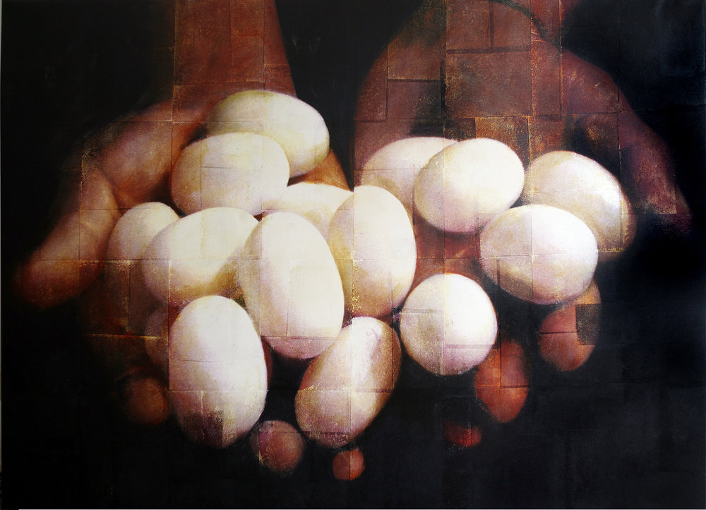 Turtle Egg Harvest - Ver IV  Phototransfer / Oil on Canvas 223 x 161  cm / 88 x 63 in Collection of Cecilie Juvodden / Norway 1998