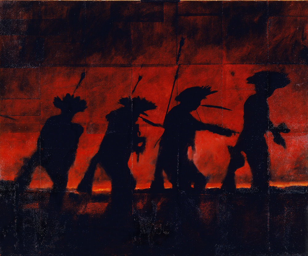 Nightwarriors  Phototransfer / Oil on Canvas 182 x 152 cm / 72 x 60 in Private Collection / United States 1998