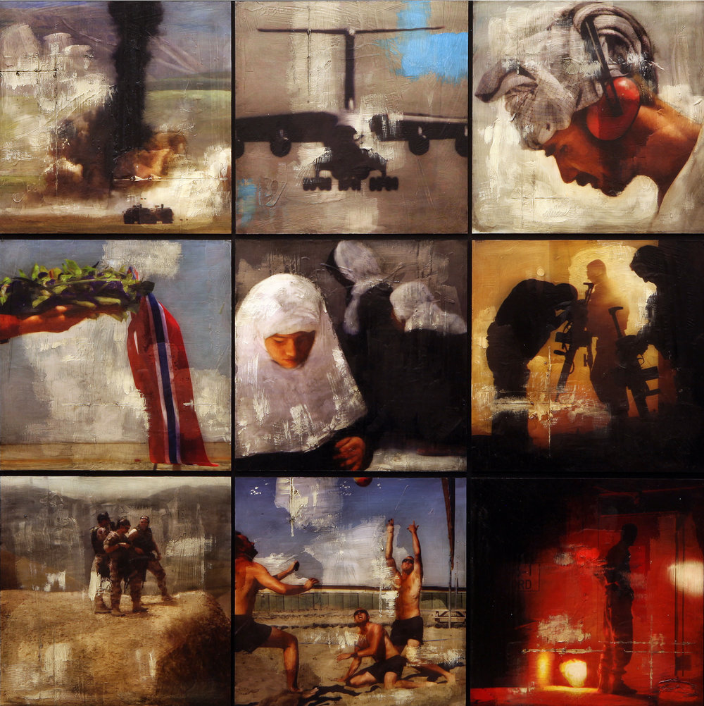Silk Road Quilt ( Contact Sheet)   Mixed Media / Oil on MDF / 9 panels 122 x 122 cm / 48 x 48 in Collection Etterretningstjenesten / Norwegian Intelligence Service HQ 2009 - 2013