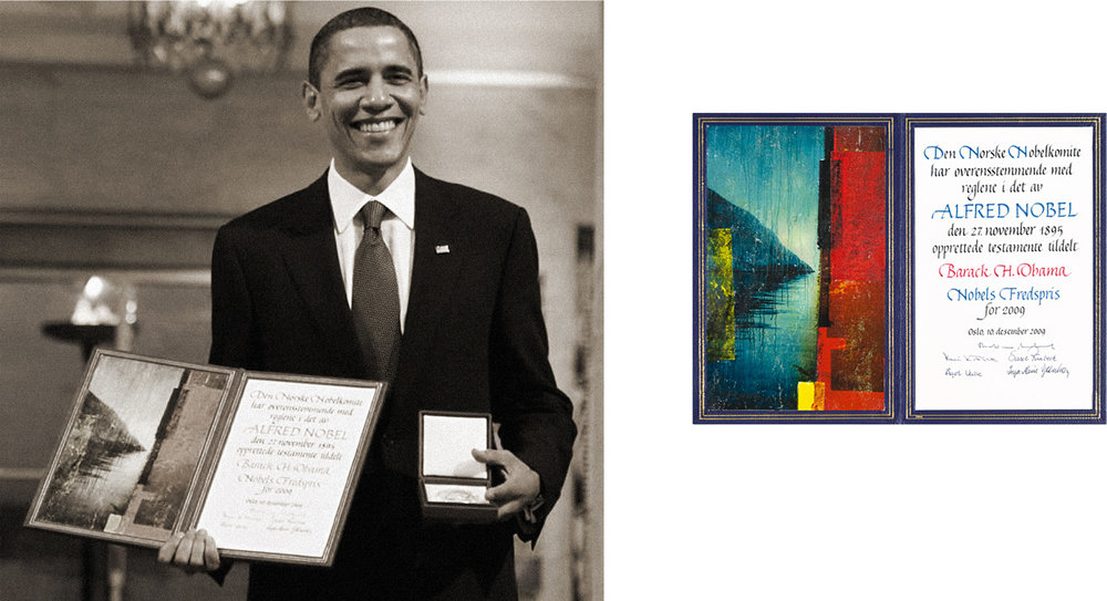Nobel Peace Prize Laureate 2009, US President Barack Obama, receives the Nobel Peace Prize Diploma made by Per Fronth  at ceremony in Oslo Rådhus Dec 10th 2009:  Having been selected the honour of being a Nobel Artist Per Fronth is the first contemporary artist using photography as a main component in the Diploma. The motif is drawn from Fronth series Archipelago - and depicts the opening of the Olav-sundet.  The sound in Ny-Hellesund made famous in tales of the King Olaf Haraldsson II - later sanctified by the Catholic church as St. Olaf after his death on the battlefield at Stiklestad, Norway, July 29th 1030.