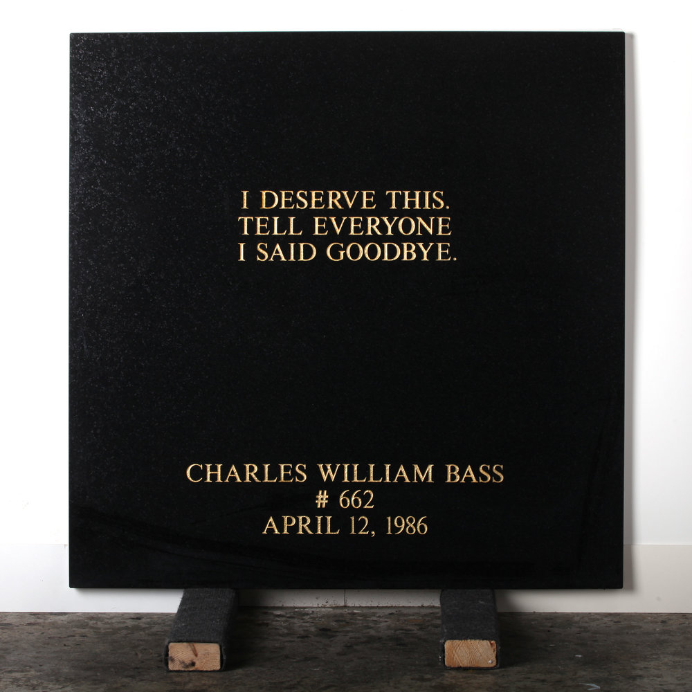 Last Statement /  Plate I. # 662 Charles William Bass  Marble / Sandblasted Letters / 24 Carat Gold Leaf 80 x 80 x 3 cm / 31 x 31 x 1,5 in Collection of Per Fronth