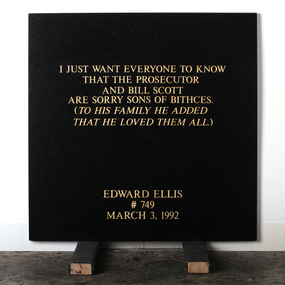 Last Statement /  Plate III. # 749 Edward Ellis  Marble / Sandblasted Letters/ 24 Carat Gold Leaf 80 x 80 x 3 cm / 31 x 31 x 1,5 in Collection of Per Fronth