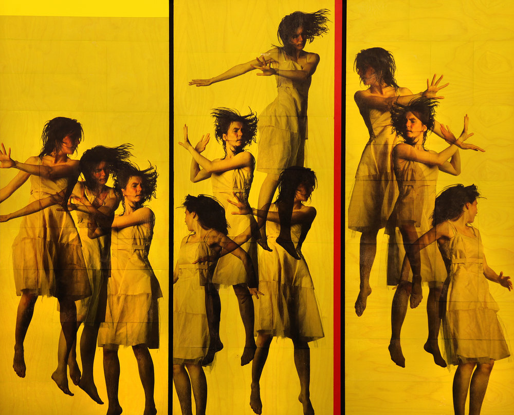 Defence / Trampoline Ver I. - III. Triptych  Phototransfer / Oil on MDF 250 x 200 cm / 98 x 78 in Private Collection / Norway