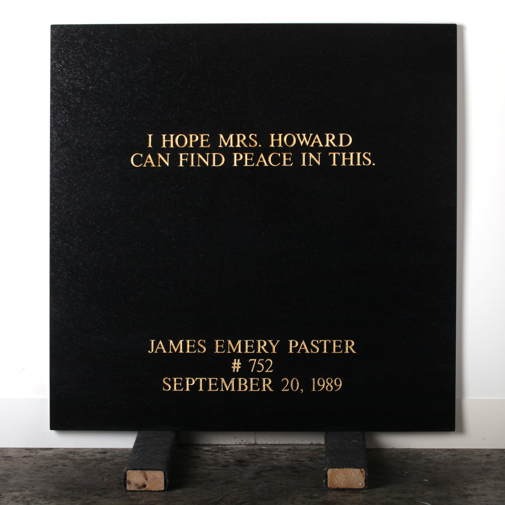 Last Statement /  Plate III. # 752 James Emery Paster  Marble / Sandblasted Letters / 24 Carat Gold Leaf 80 x 80 x 3 cm / 31 x 31 x 1,5 in Collection of Per Fronth