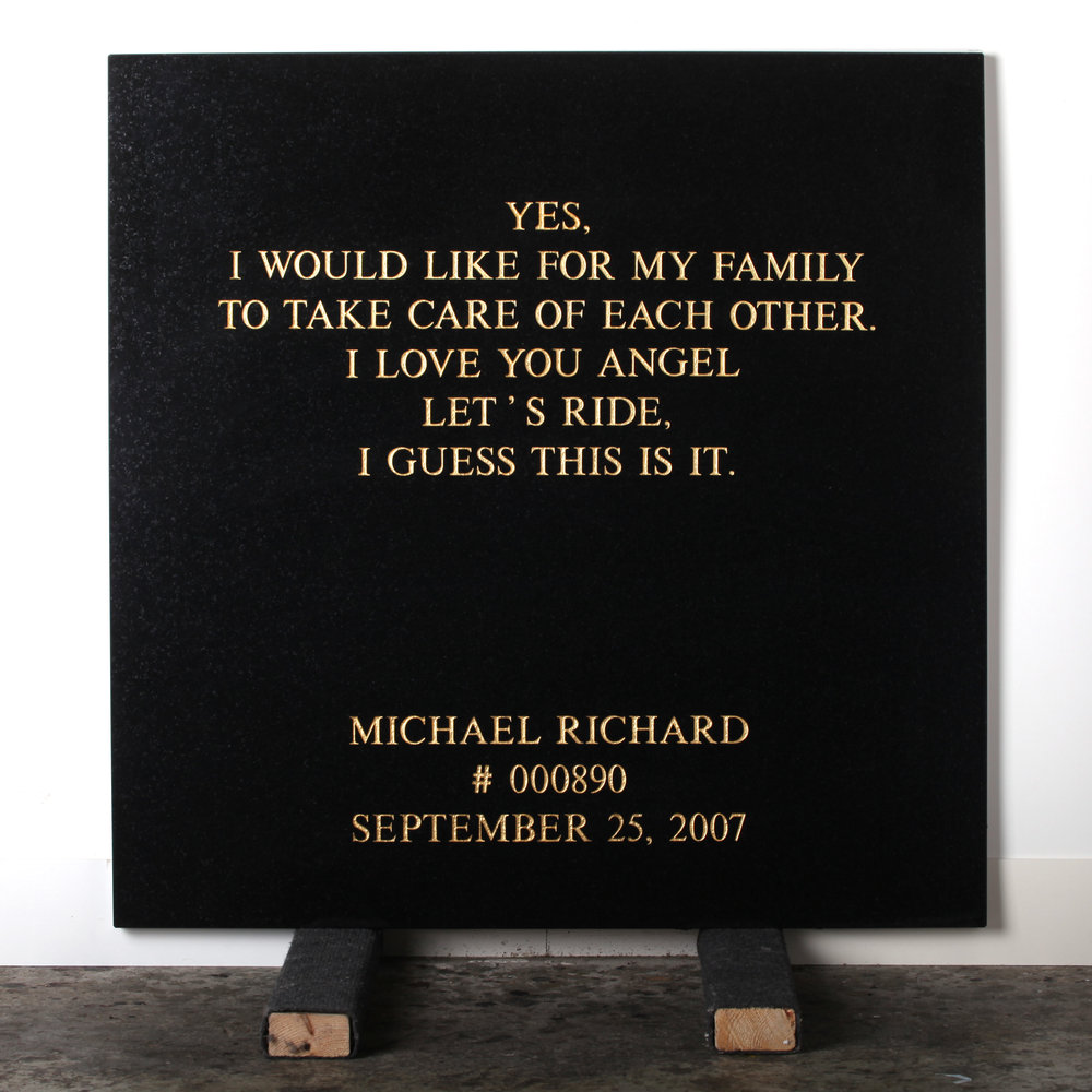 Last Statement /  Plate IX. # 000890 Michael Richard  Marble / Sandblasted Letters / 24 Carat Gold Leaf 80 x 80 x 3 cm / 31 x 31 x 1,5 in Collection of Per Fronth