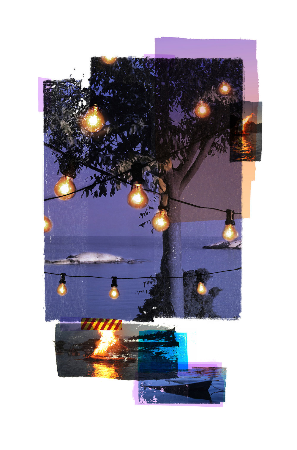 Rim of the party (Sunken boat) / Olsok / NYH  Photolitho/ IDEM PARIS BFK Rives 250 gr, Handcut 38 x 58 cm / 15 x 22,8 in Edition of 100 +15 Ap Editeur: IDEM PARIS / Per Fronth  14/2017: