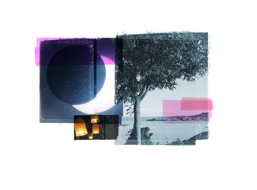 Wishlist / Eclipse / Blue Tree  Original Archival UV Pigment Print / BFK Rives 250 gr 35 x 28 cm / 13,7 x 11 in Edition of 50 + 7 Ap Editeur: Per Fronth Studios / Printer Henrik Aunevik  06/2016: