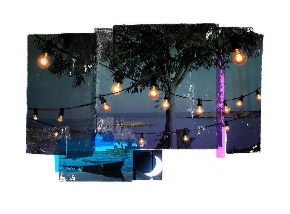 Edge of our party / Fear of the known / Blue boat  Original Archival UV Pigment Print / BFK Rives 250 gr 76 x 56 cm / 30 x 22 in Edition of 50 + 7 A Editeur: Per Fronth Studios / Printer Henrik Aunevik  09/2016:
