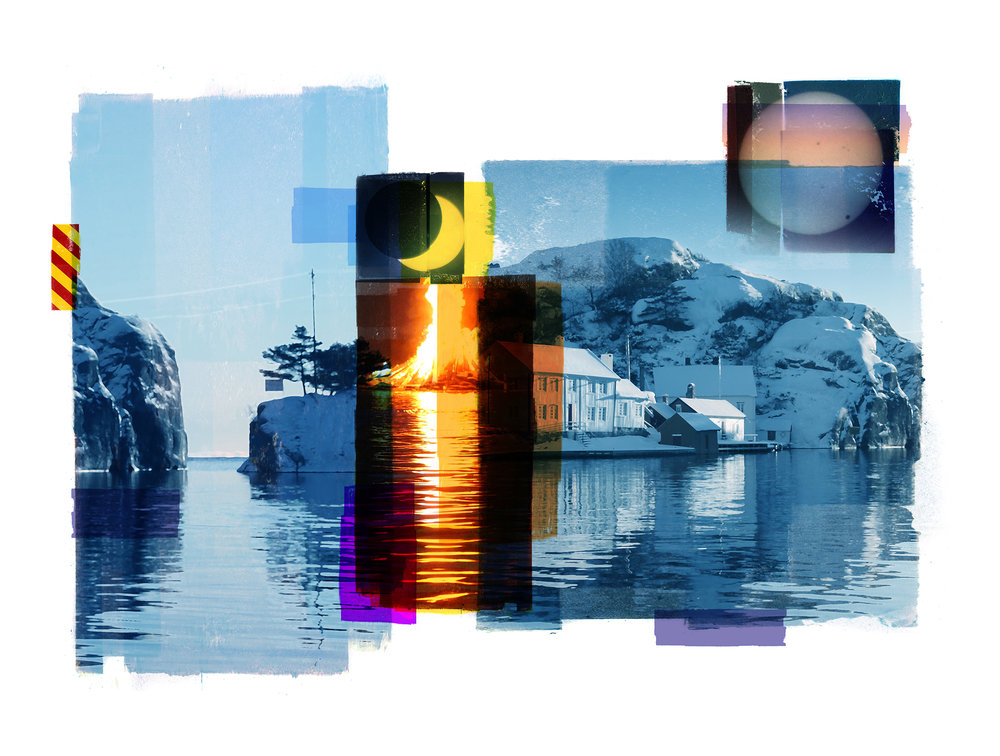 A Winter sun / Eclipse / Venus Passage (Archipelago)  Photolitho/ BFK Rives 300 gr 78 x 59 cm / 30,7 x 22,5 in Edition of 100 + 10 Ap Editeur: IDEM PARIS / Per Fronth  16/2016: