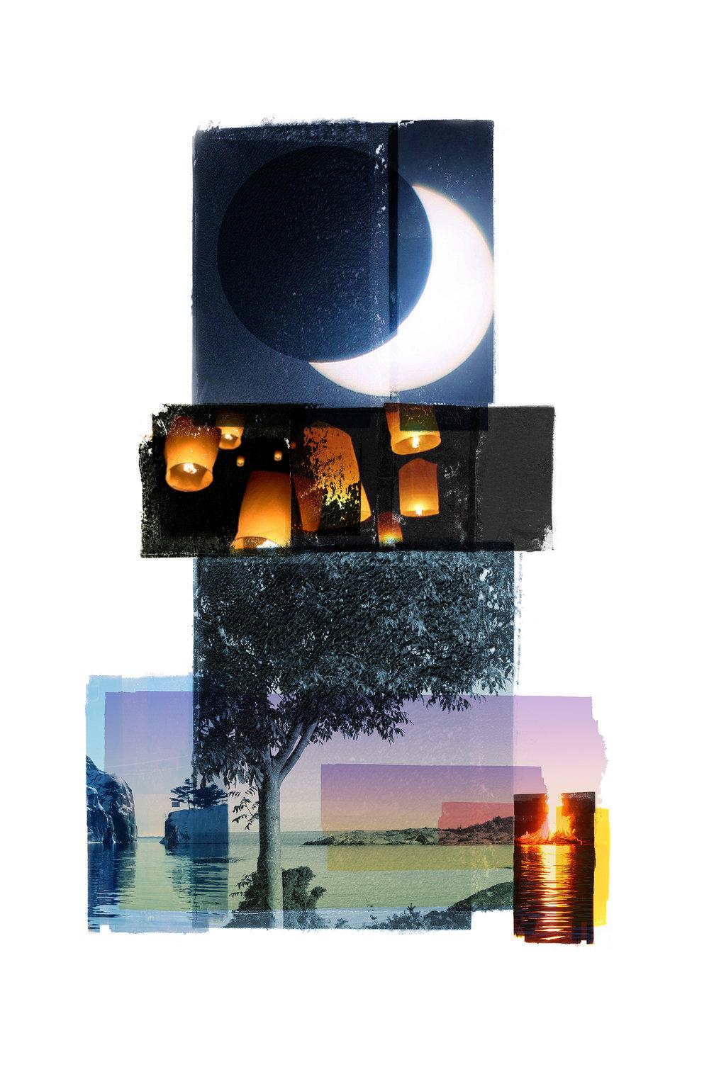 Ascend / Eclipse of the sun / Olsok (Archipelago)  Photolitho / BFK Rives 250 gr 57 x 38 cm / 22,5 x 15 in Edition of 100 + 10 A Editeur: IDEM PARIS / Per Fronth   18/2016:
