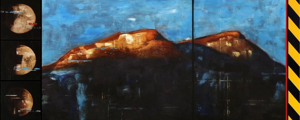 Reservoir / Eclipse / December / Storeskarnos ( Hemsedal)  Mixed Media / Oil on MDF 292 x 120 cm / 115 x 47 in Collection of Skigaarden / Hemsedal / Norway 2014