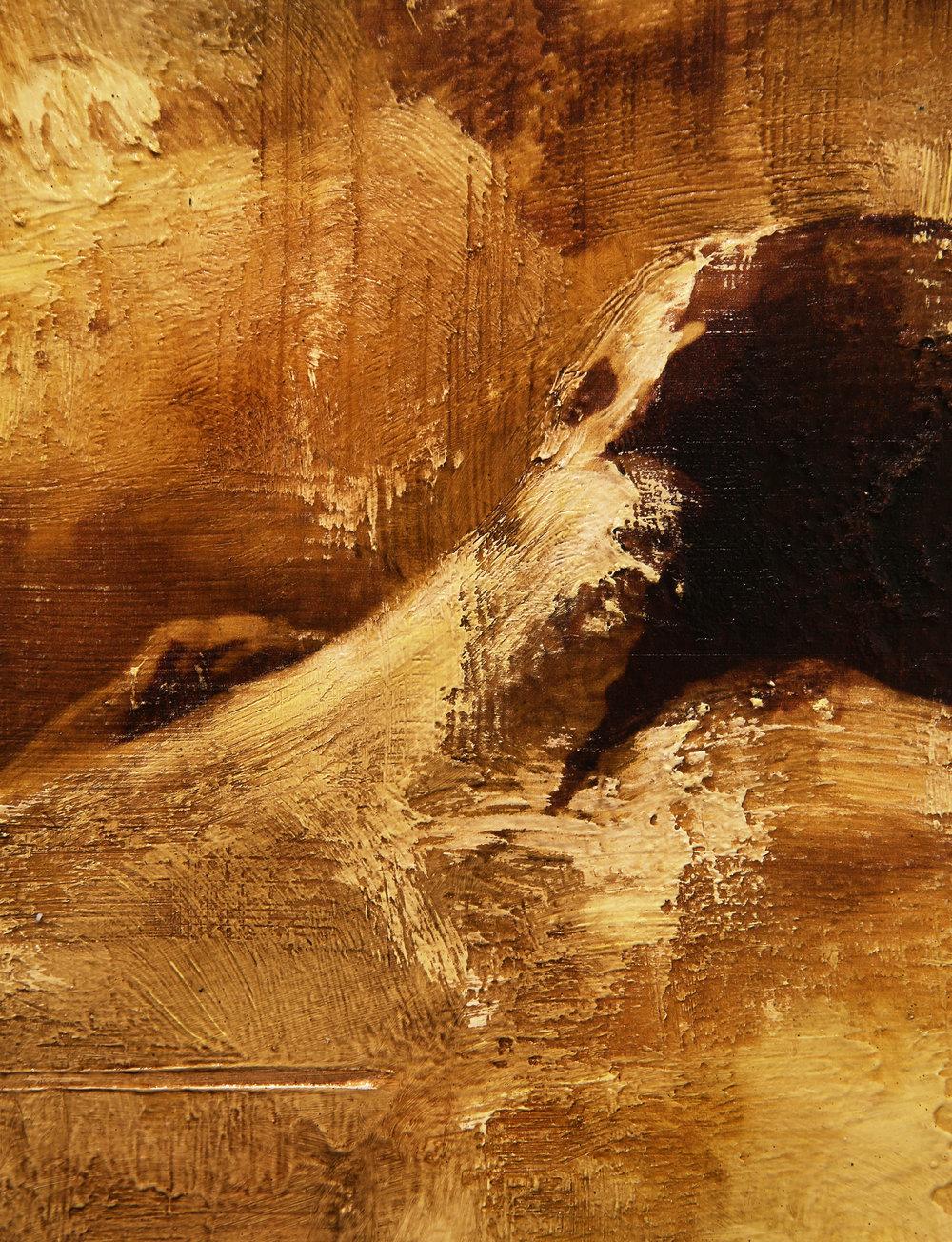 Detail:  Reservoir /Skavl ( Google)  Mixed Media / Oil on MDF 80 x 40 cm / 31 x 16 in Collection of Skigaarden / Hemsedal / Norway 2014
