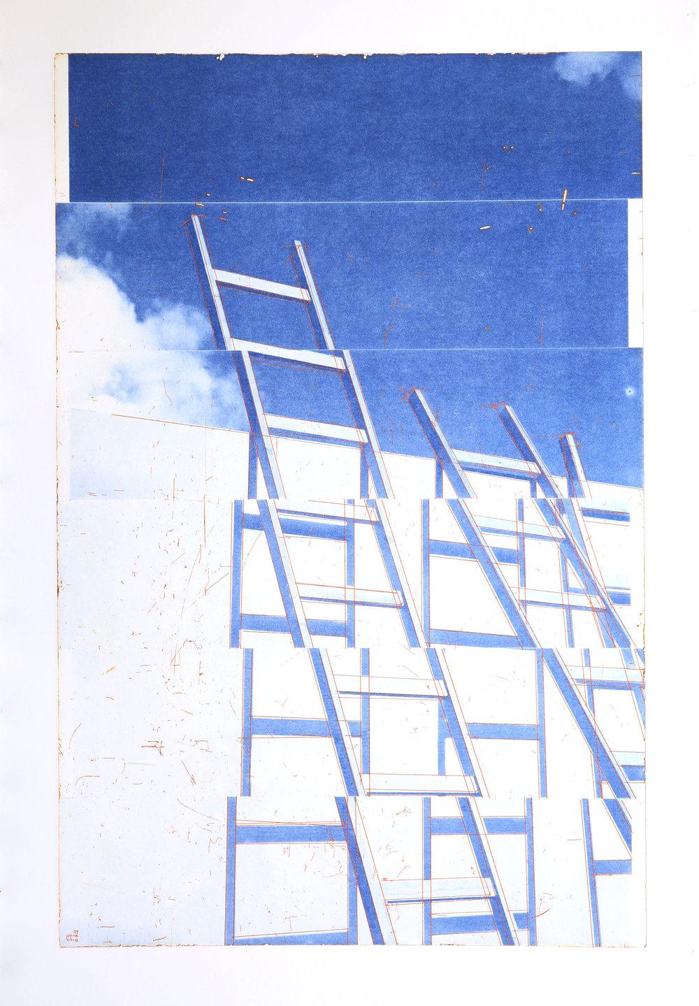 GHOSTPRINT: Venia / Intermezzo / Opportunity / The Wall   Polymer / Etching / Drypoint 160 x 110 cm / 63 x 43 in Edition of 45 + 7 Ap Editeur: Per Fronth / Atelje Ole Larsen / Helsingborg  24/2015: