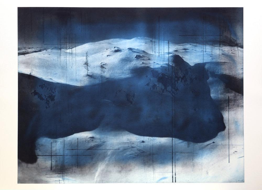 Reservoir / Helicopter ( Setesdal ) Blue   Polymer / Etching / Drypoint 108 x 78 cm / 30,7 x 42,5 in Edition of 40 + 7 Ap Editeur: Per Fronth / Atelje Ole Larsen / Helsingborg  33/2015:
