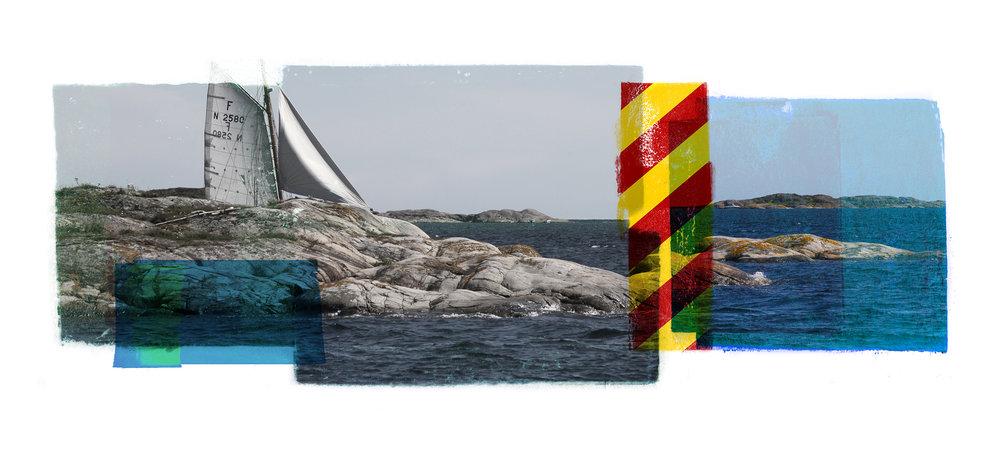 Ved kjølsvinet. ( Sagesund ) Archipelago   Original pigment print / BFK rives 250 gr 56 x 25 cm / 22 x 9,8 in Edition of 50 + 7 Ap Editeur: Per Fronth Studios / Henrik Aunevik  05/2014: