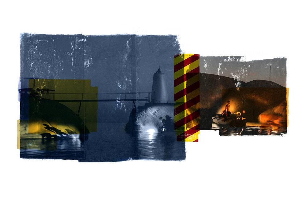 Bridge / Teenage Lux / Cyan (Archipelago)  Original pigment print / BFK rives 250 gr 180 x 80 cm / 47 x 32 in Edition of 35 + 7 Ap Editeur: Per Fronth Studios / Henrik Aunevik  06/2014: