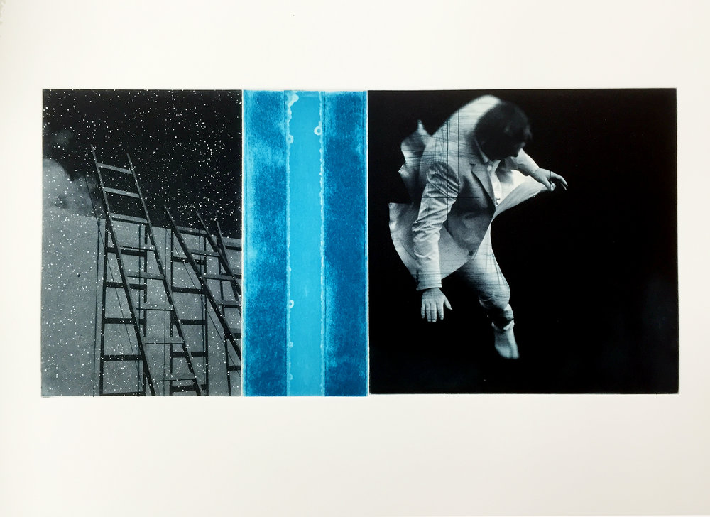 Gravity / Venia ( Joy ) Trampoline  Image size: 30 x 15 cm /  Paper Size: 59 x 39 cm Drypoint / Photopolymer / Etching Edition of 40
