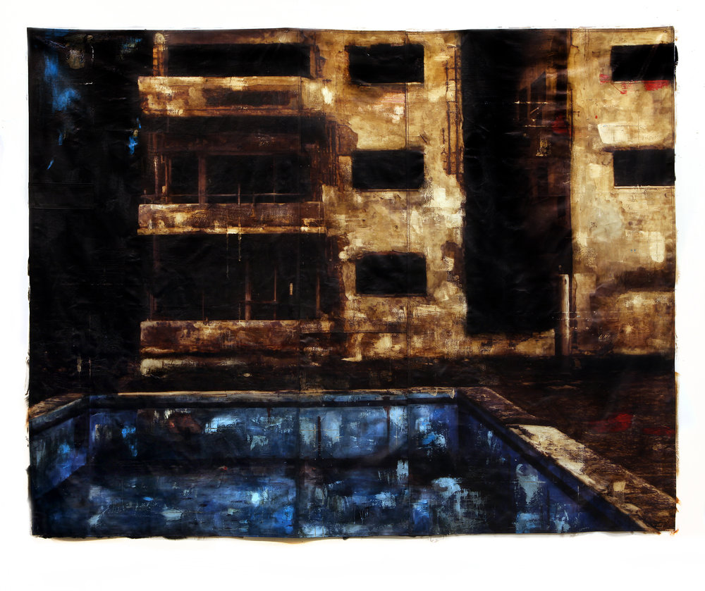 Will of the People / Apartment / Miramar Complex (Habana) Mandatory Parental Leave  Mixed Media / Oil on Canvas / Sewn 270 x 220 cm / 106 x 87 in  Private Collection / Miami 2013