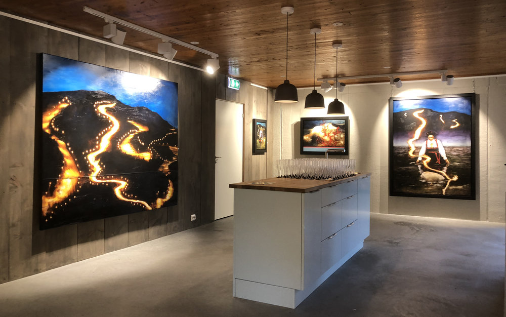 "Installation view: Systog Dale, Valle Setesdal showing new original works among them to left "" Nightslopes / Reservoir "" 200 x 165 cm"