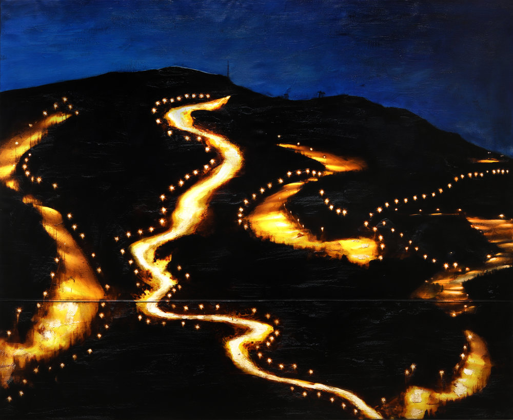 Nightslopes / Nos / Reservoir  Mixed Media / Oil on Canvas / Sewn 200 x 165 cm / 78 x 58 in From exhibition Setesdal Revisited / Systog Dale,  Nov 2018