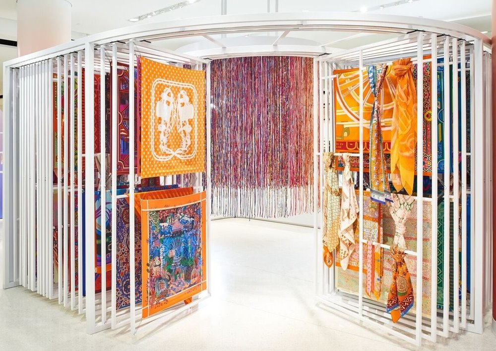 Curtains crafted from Hermes Scarves