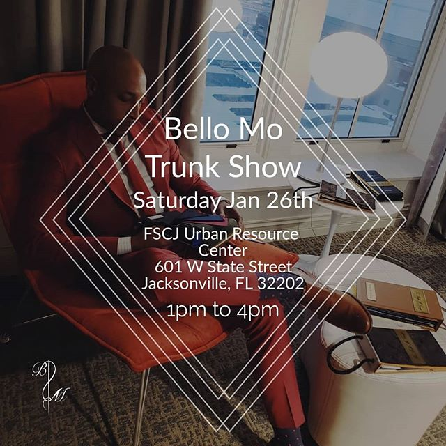 The Bello Mo Group is hosting a trunk show this Saturday January 26th from 1pm - 4pm at the FSCJ Urban Resource Center located at 601 W State Street Jacksonville, FL 32202  This will be the last chance to take advantage of our New Year promotion. **Suit, shirt and various combo packages will be available** Dm for more information.  #Duval #Jacksonville #HomeComing #Jville #JaxNightLife #Prom #904HappyHour #Jags #Dapper #DapperlyStyled #DapperlyDone #Suit #Style #Fashion #Custom #CustomShirts #Styled #Consultants  #FashionConsultants #Trends #Suits #CustomSuiting #Detailed