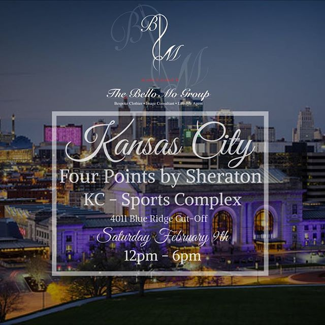 We will be in KANSAS CITY Friday through Monday at the Four Points by Sheraton KC Sports Complex as we cap off our midwest run.  If you are in the KC area or know someone please stop by or pass along.  As always we will have hundreds of fabric swatches available for suits, shirts and overcoats!!! #whyrent #mensfashion #tailored #bespoke  #thebellomogroup #atlanta #jacksonville #kansascity #kc #ootd #custom #customtailor # gqbusboy #gentleman #hgqru #menswearwxfc