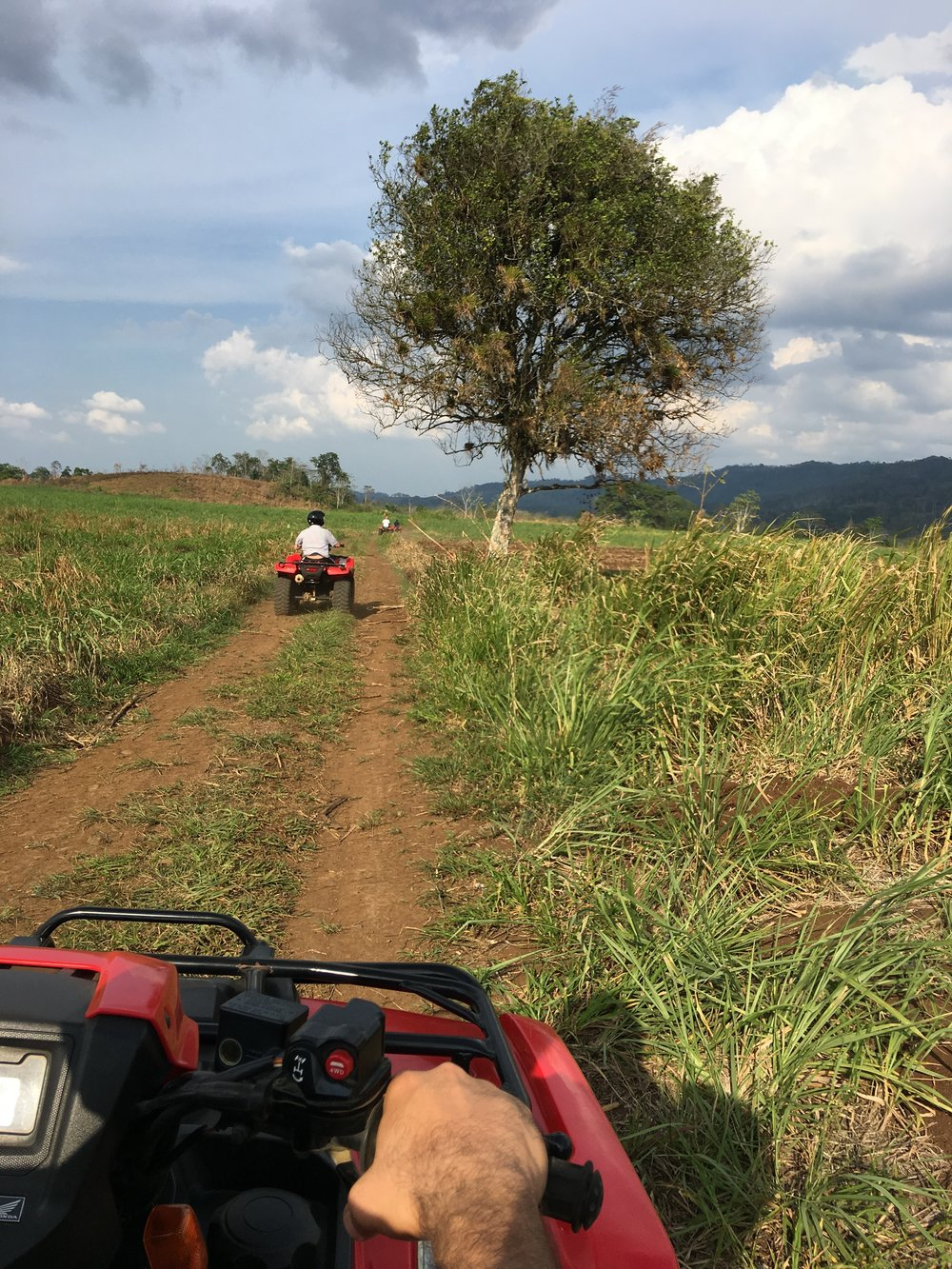 Driving on ATV's is extremely fun and a great way to explore farmlands in the real Costa Rica.