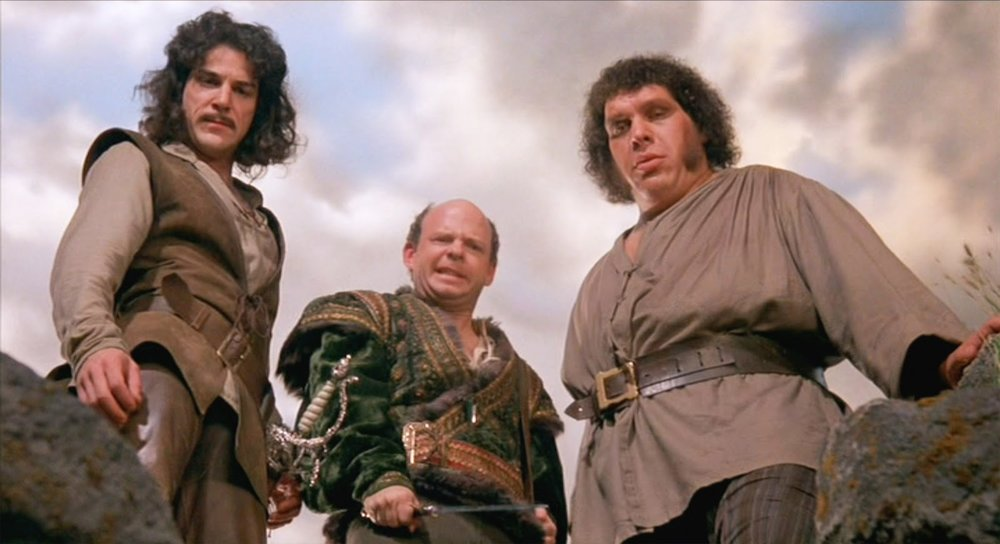 Inigo Montoya, Vizzini, and Fezzik looking over the Cliffs of Insanity!