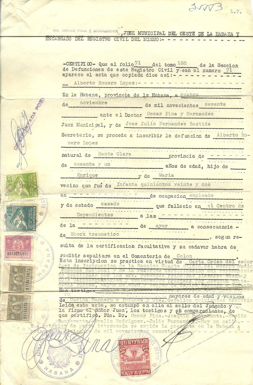 1960 1104 Alberto Romero Death Certificate 1.jpg