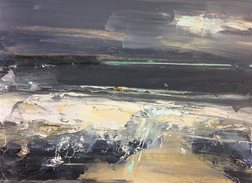 Gwithian Storms.  23 x 31 cm. Oil on board  Sold