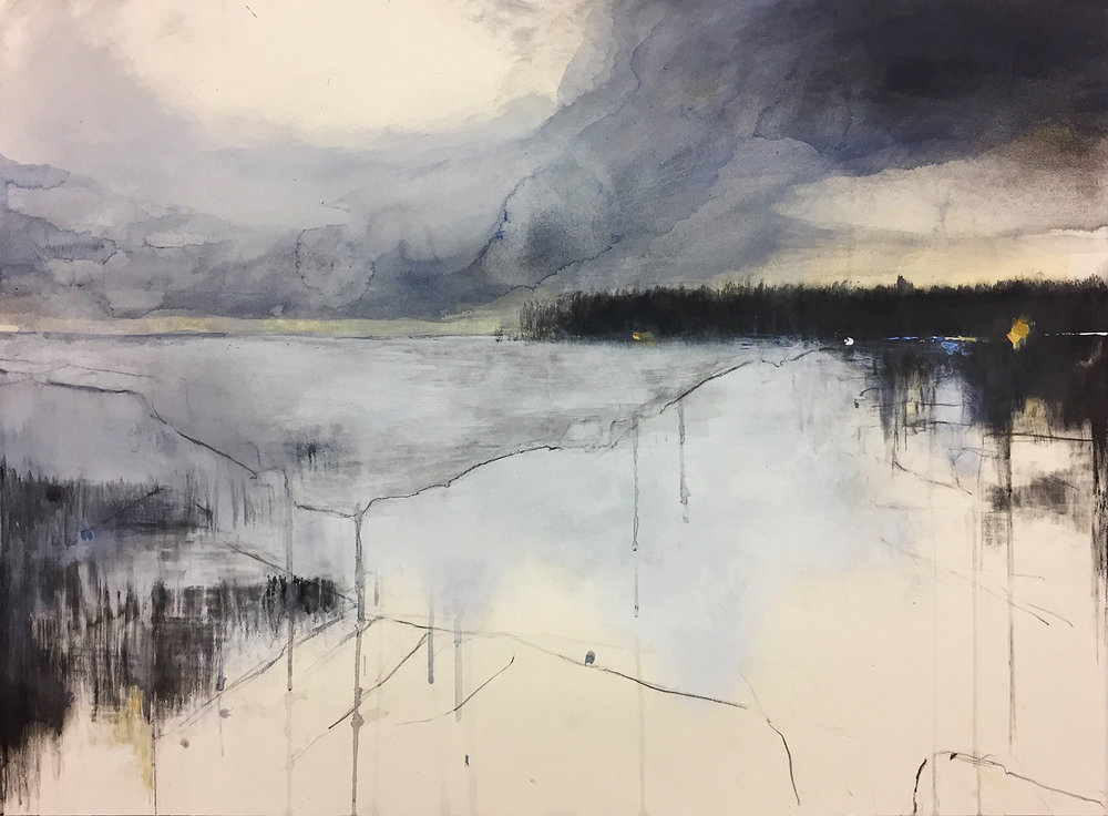 Cove in Winter.  57 x 77cm. Graphite, oils, watercolour, gesso on paper  Sold