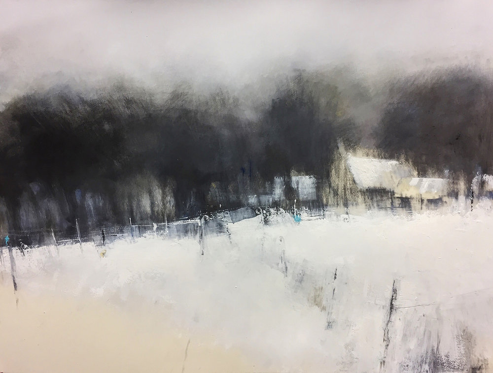 Winter Copse.  Graphite, oils, gesso on paper.  Sold