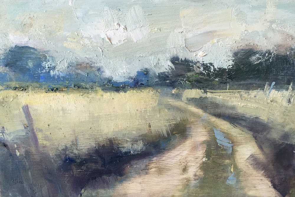 Cornish Footpath.  Oil on board. 20 x 30cm.  Sold