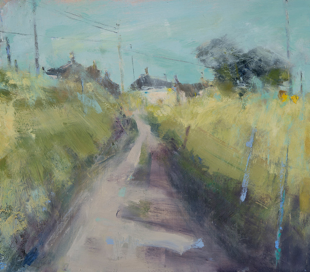 Cornish May, Lane to the Village.  Oil on board. 35 x 40cm  Sold