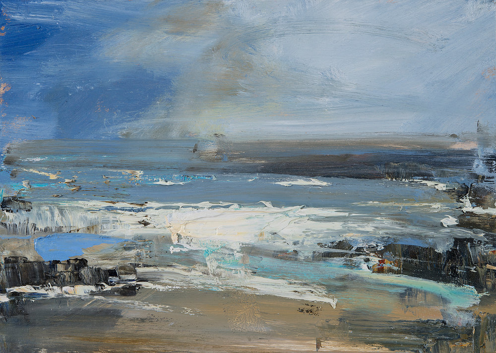 Gwithian Blue.  Oil on board. 25 x 35cm  Sold