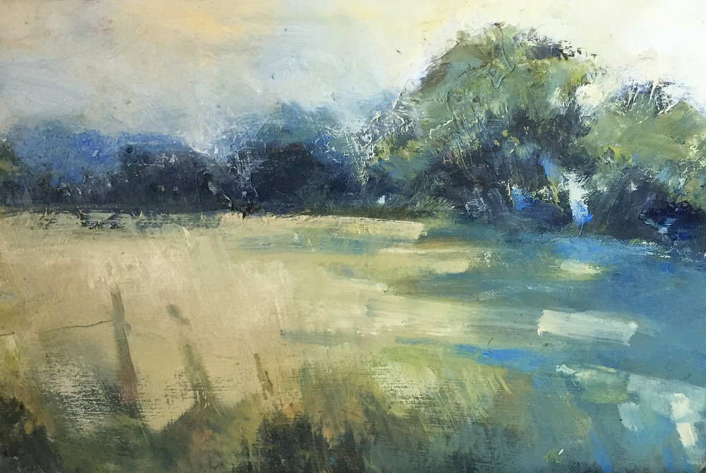 Spring Shadows, Mylor.  Oil on board. 20 x 30cm  Sold