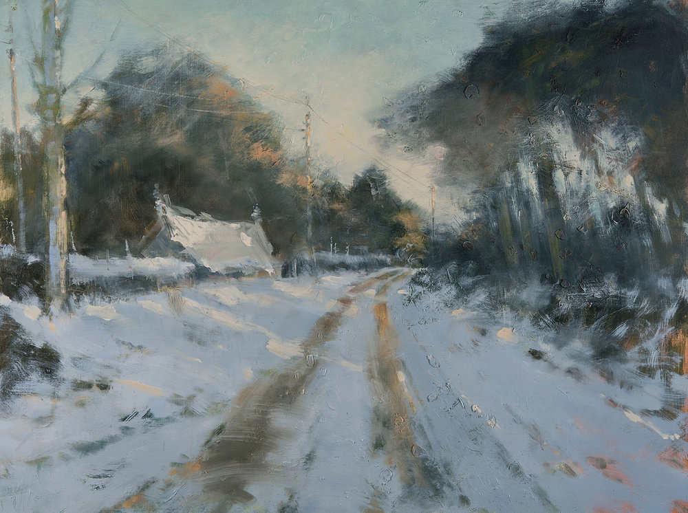 Fading Winter Light.  Oil on board. 75 x 100cm  Sold