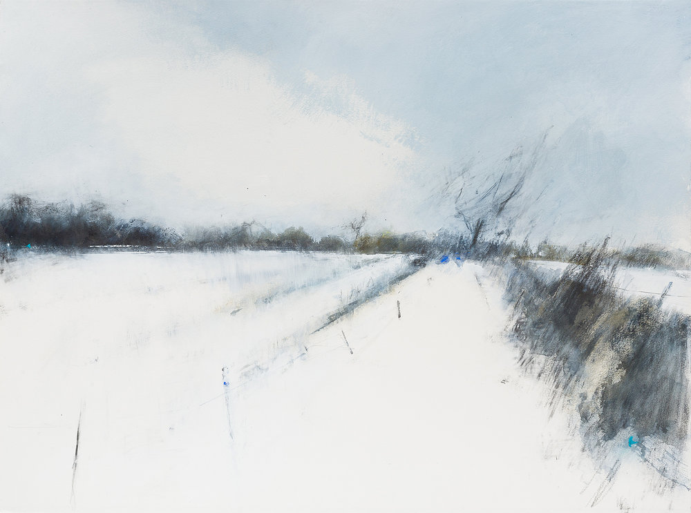 Snow Swept Fields, Cornwall.  Graphite, oil and gesso on paper. 57 x 77cm  Sold
