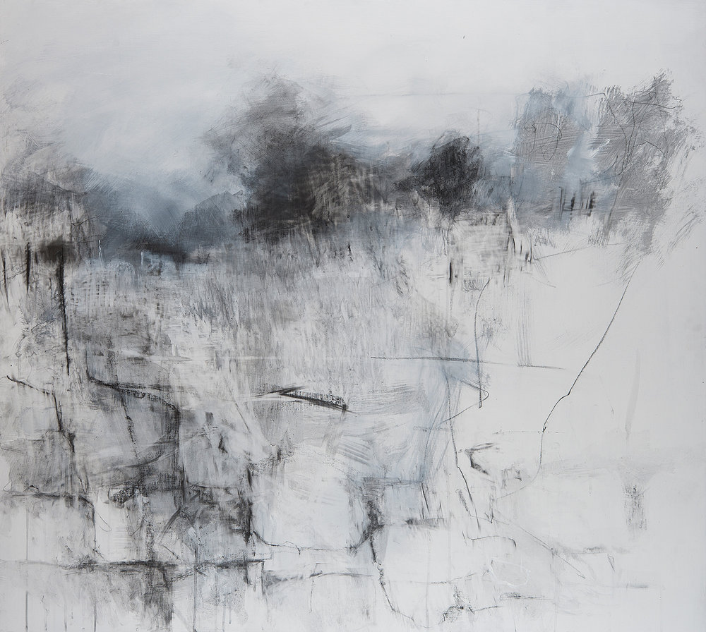 Stone Wall to Kestle Gardens.  Graphite and gesso on board. 110 x122cm  NFS