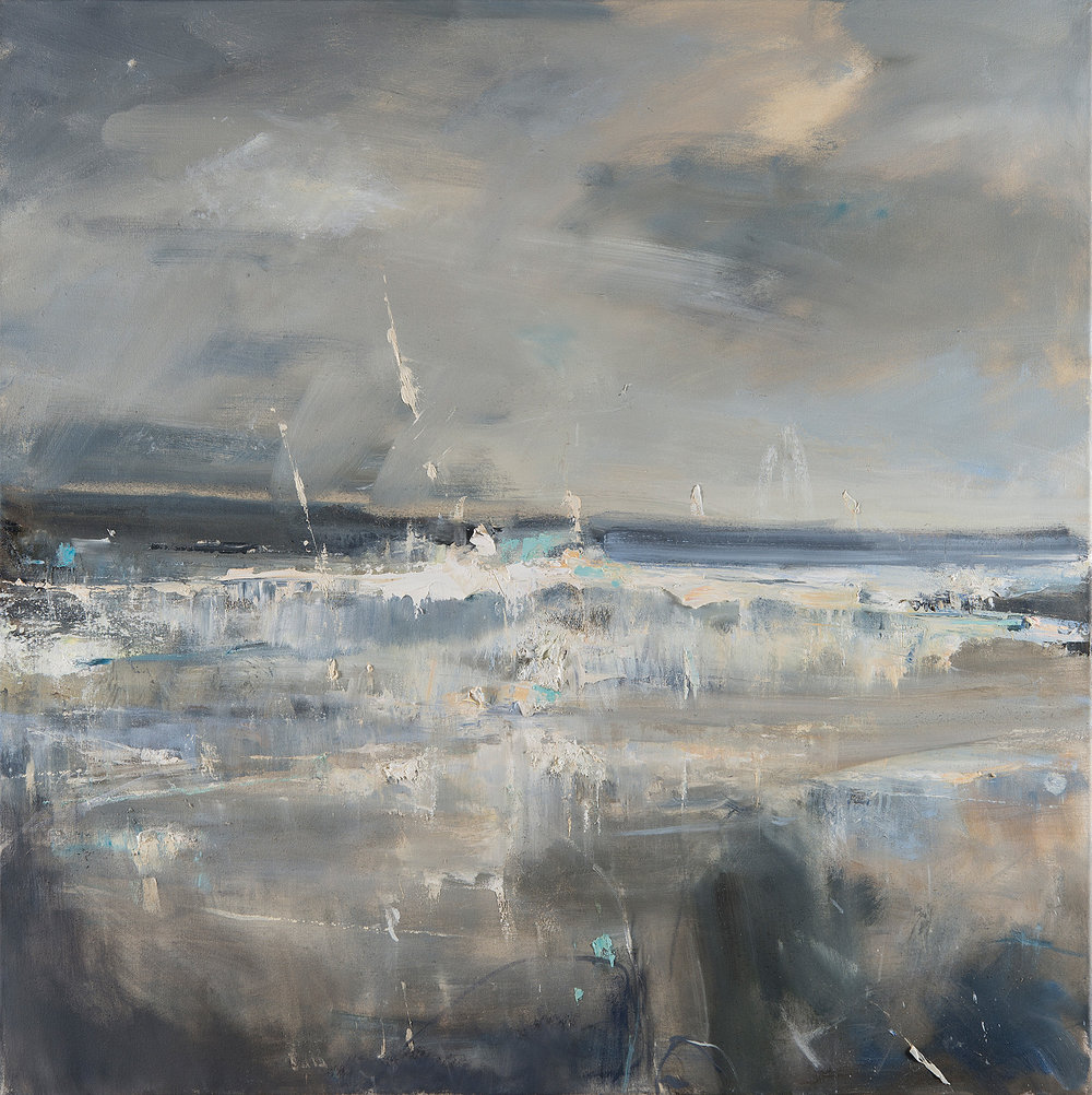Storm Coming, Sennen Cove.  Oil on canvas. 100 x 100cm  Sold
