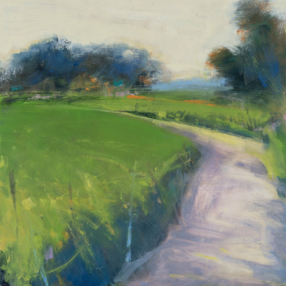 Late Sun, Long Shadows, Country Lane.  Oil on board. 45 x 45cm  Sold