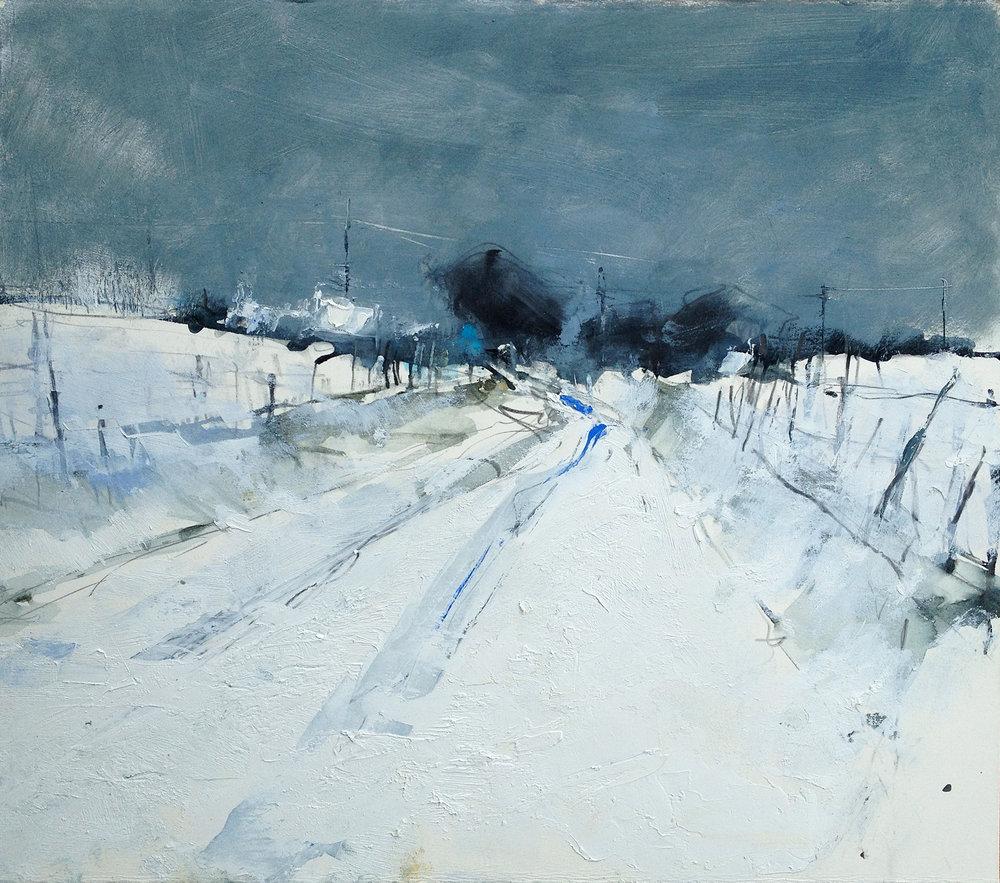 Snow Study, Cornish Farm.  Graphite, oil, watercolour and gesso on paper. 39 x 44cm  Sold