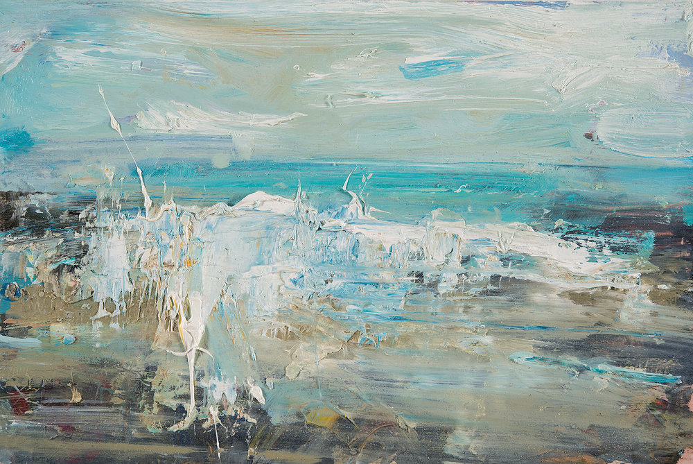 Turquoise Summer Sea, Gwithian.  Oil on board. 20 x 30cm  Sold