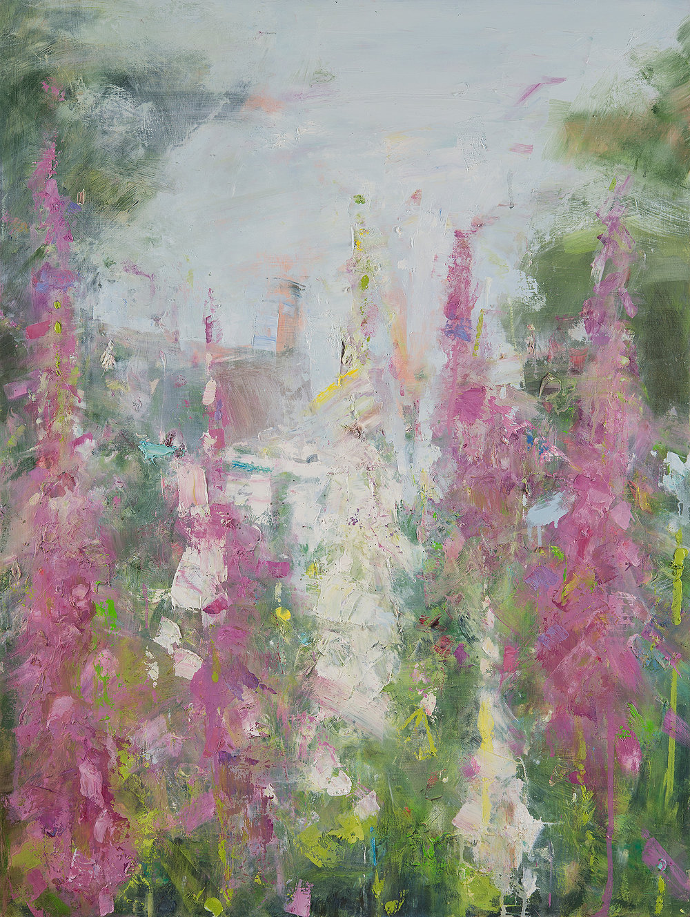 Feock Foxgloves.  Oil on board. 80 x 60cm  Sold